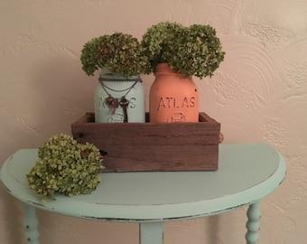 mason jar centerpiece, home decor, rustic mason jar,wooden box, housewarmin gift, mantle piece,soft tone jars