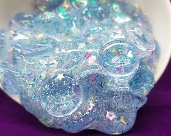 4 oz Mermaid's Cove Fishbowl Clear Baby Blue Glitter Holo Crunchy Floam Slime Add Essential Oil Scent Lavender Peppermint Coconut and More