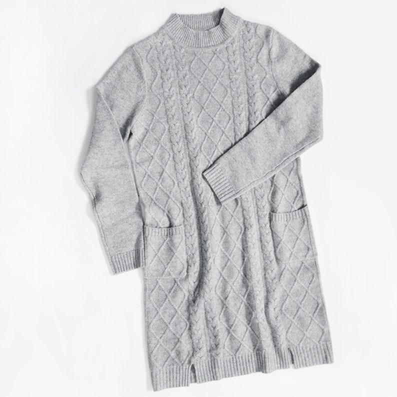 Aspen Cashmere Cable Knit Jumper Dress Grey