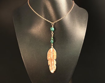 Copper Feather with Turquoise