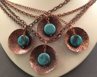 Copper, Turquoise, Hammered Disc Necklace