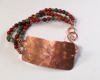 Copper Cuff with Beaded Bracelet