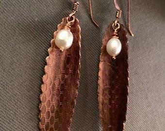 Copper & Pearl Earring