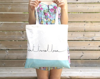 "Fair Trade Organic Cotton Tote Bag ""Eat, Travel, Love"""
