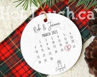 Personalized Engaged Ornament Engaged calendar ornament Gift for the Couple Engagement Gift Our First Christmas engaged XS-ENG-3