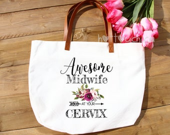 Midwife Personalised Tote Bag Shopper Thanks Amend Birthday Gift Nurse Pregnancy