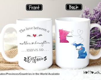 State gift, Long Distance Mom Mug, Long Distance Daughter Mom Mug, Moving Away Mug LD-MD-07