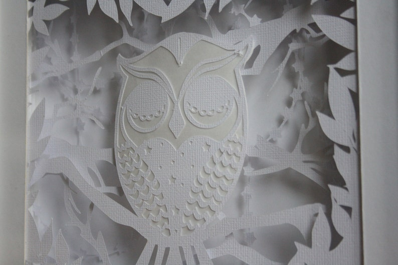 Layered sleepy owl papercut 3D Frame and Nightlight for Baby nursery or toddler room  perfect gift