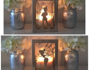 Disney Peter Pan and Tinkerbell metal candle holder, Lantern, Centerpiece,Disney Home decor, Utensil holder, Disney Gift