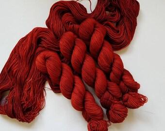 Cardinal- Hand Dyed Tonal Yarn, Superwash Merino Nylon 2 Ply twist