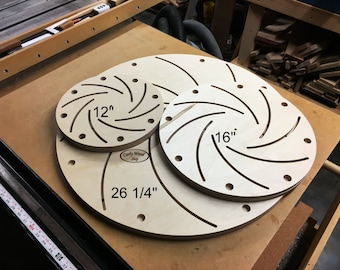 Longworth chuck, Plates only, Discs only, CNC cut, Accurate, Precise, Lathe chuck, Bowl chuck, Drum staves, Custom sizes, Baltic Birch