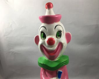 Vintage 1970 Reliance Products Corp Rubber Squeaky Clown Toy - Slightly Sinister 100% Awesome