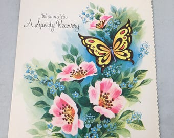 Vintage Unused Midcentury Sweet Get Well Card With Flowers and Butterfly