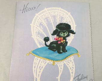 Vintage Midcentury Unused Get Well Card With Adorable Black Poodle