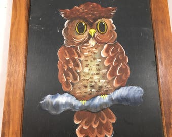Vintage Owl on a Branch Painted on a Slate