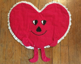 Vintage Weird Heart Shaped Polka Dot Cloth Valentines Day Decoration