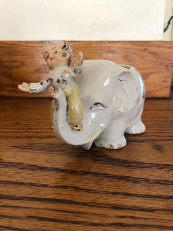 Adorable little Vintage ceramic art Elephant indoor planter Home & Living Planters & Pots