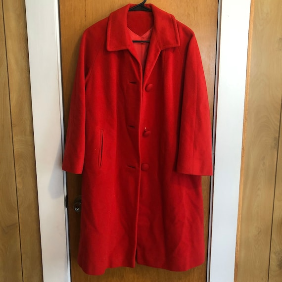 Vintage Midcentury Rich Red 100% Cashmere Button D