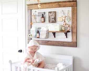 Rustic Peg Board Display, Farmhouse Decor, Nursery Diaper Caddy, Nursery  Storage, Rustic Command Center