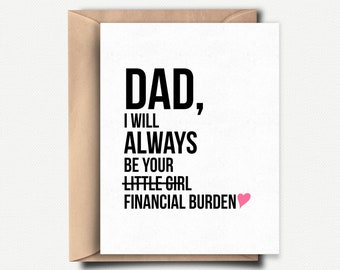 Happy Fathers Day Card Funny Father Gift From Daughter For Idea Dad Birthday Sarcastic