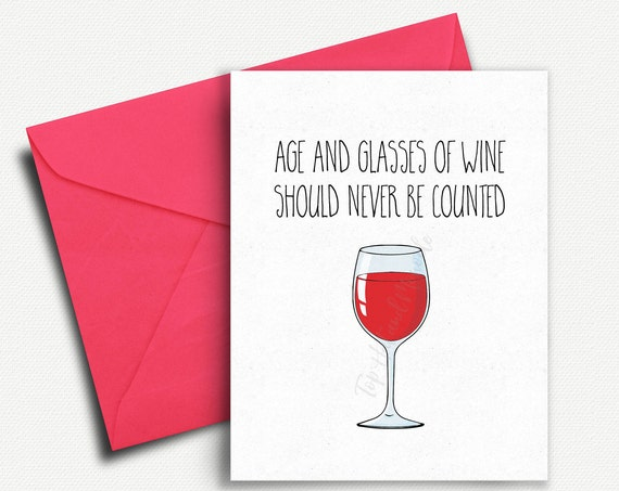 Funny Birthday Card Best Friend Wine Lover Gift 30th