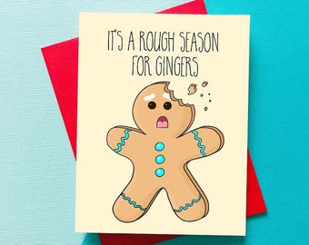 Funny Christmas Card Funny Holiday Card Ginger Card Birthday Card Best Friend Funny Birthday Card, Boyfriend, Girlfriend Xmas Christmas Gift