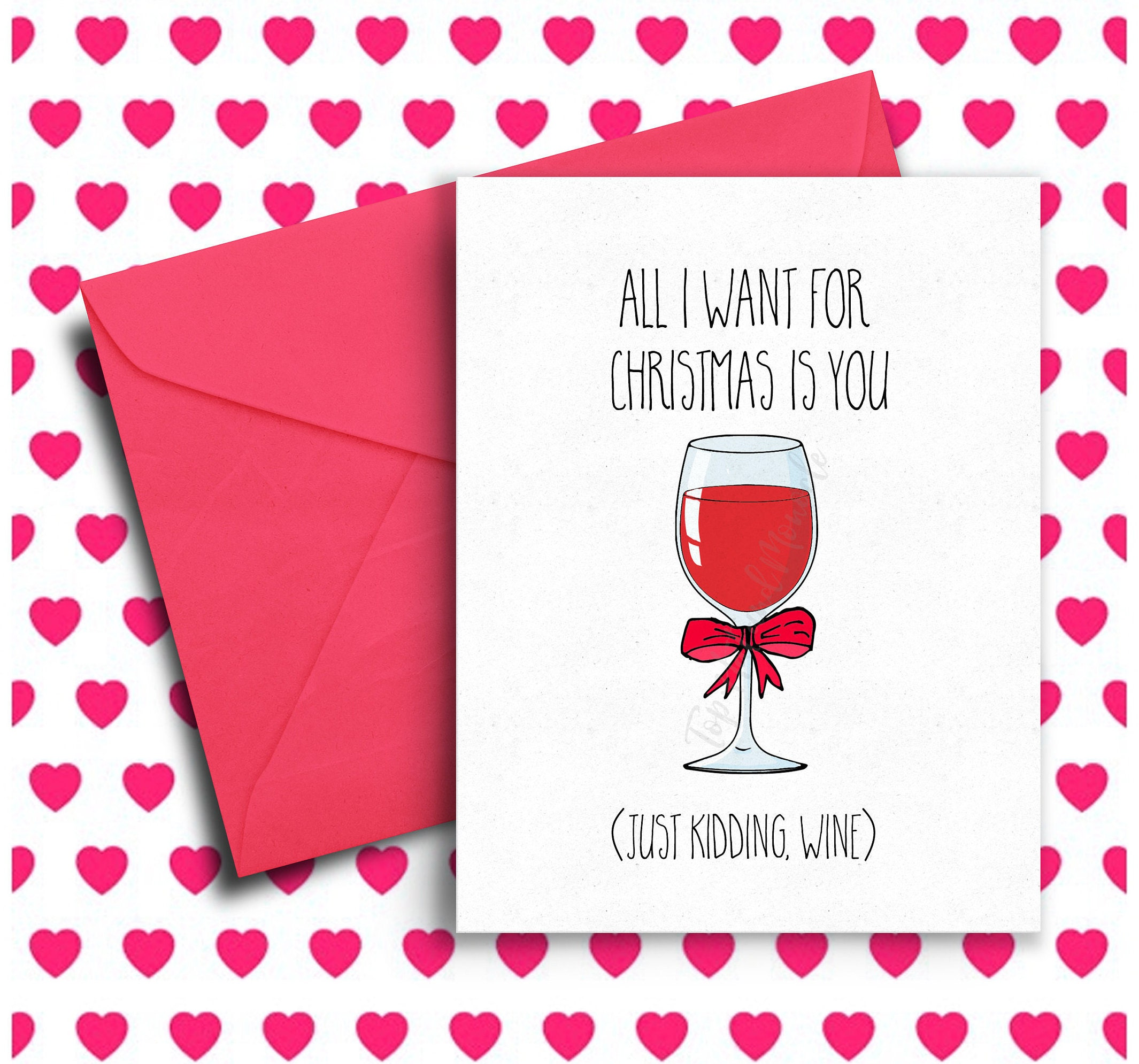 Funny Christmas Card Wine Gift Holiday Card For Boyfriend
