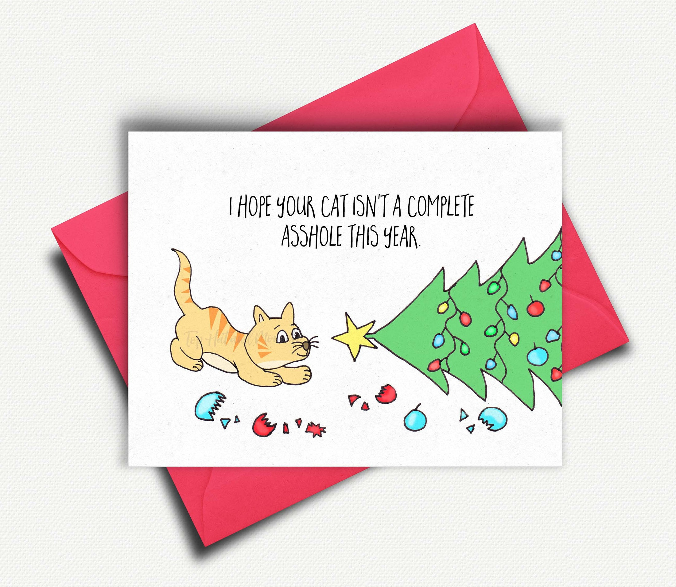 Funny Cat Christmas Card Cat Lover Card Gift Cat Card Cat Gifts