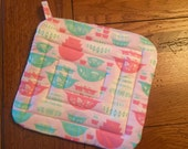 Pink Pyrex Potholder NEW Handmade Vintage Print Fabric Gooseberry Quilted Potholder Pots and Pans Kitchen Linens Hotpad