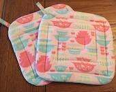 TWO Pink Pyrex Print Potholders New Handmade Vintage Print Gooseberry Memorabilia Kitchen Linens Retro Fabric