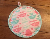 Pink Pyrex Potholder NEW Handmade Vintage Print Fabric Gooseberry Quilted Potholder Pots and Pans Kitchen Linens Hotpad Round