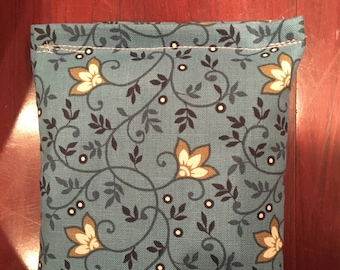 Teal Floral Heating Pad with Flax
