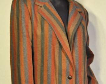 Womens Vintage Striped Blazer