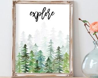Explore Print, Explore Printable, Explore Wall Art, Nature Print, Travel Printable, Travel Art, Forest Print, Travel Decor, Wander Print