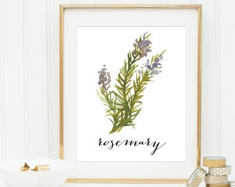 Rosemary Herb Printable, Botanical Print, Herb Prints, Botanical Art Decor, Herb Prints, Rustic Kitchen Art, Herb Decor, Botanical Prints