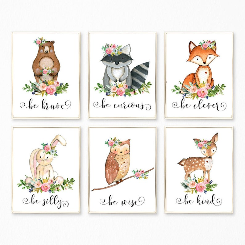 picture regarding Printable Woodland Animals titled Woodland Print Fixed, Woodland Animal Prints, Printable Woodland Nursery Decor, Woodland Nursery Artwork, Be Style Be Courageous, Animal Wall Artwork