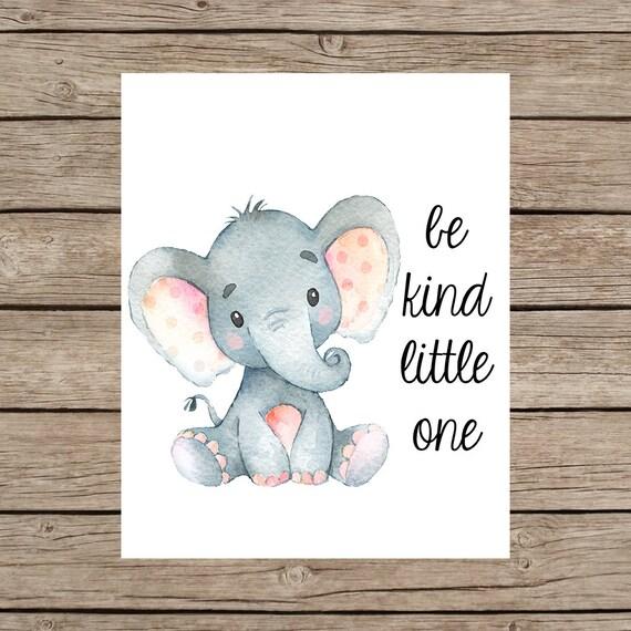 Art Kleiner Elefant Kunst Bedruckbar Kinderzimmer Etsy