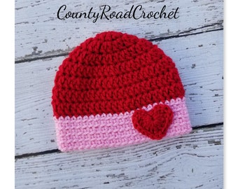 428926a2db5 Crochet Heart Hat Red And Pink Hat Preemie Beanie Newborn Baby Girl Hat  Coming Home Outfit Baby Shower Gift Warm Baby Hat NICU Baby Hats