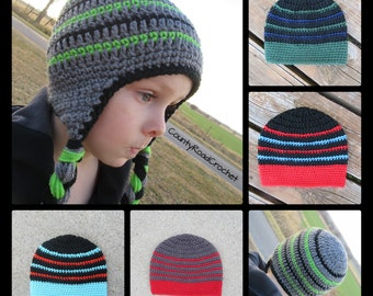 Boy Winter Hat Beanie Crochet Earflap Hat Toboggan Hat With Braids Toddler Kid  Child Gift Newborn Boy Baby Boy Hospital Hat Red Blue Green 14ef0111b003