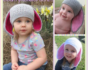 acd2430f2a2 Baby Crochet Bunny Hat - Easter Bunny Hat - Bunny Beanie - Baby Photo Prop  - Hat with Bunny Ears - Floppy Ears Bunny - Kids Bunny Hat
