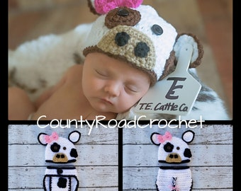 9e756f29b05 Newborn Cow Outfit Crochet Cow Photo Prop Baby Girl Cow Hat Farm Animal  Photo Props Crochet Newborn Cow Hat Baby Animal Hats Baby Gifts