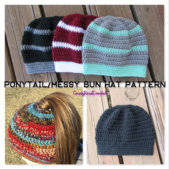 Crochet Ponytail Hat PATTERN Messy Bun Beanie PATTERN Hat  f3b797f6c10