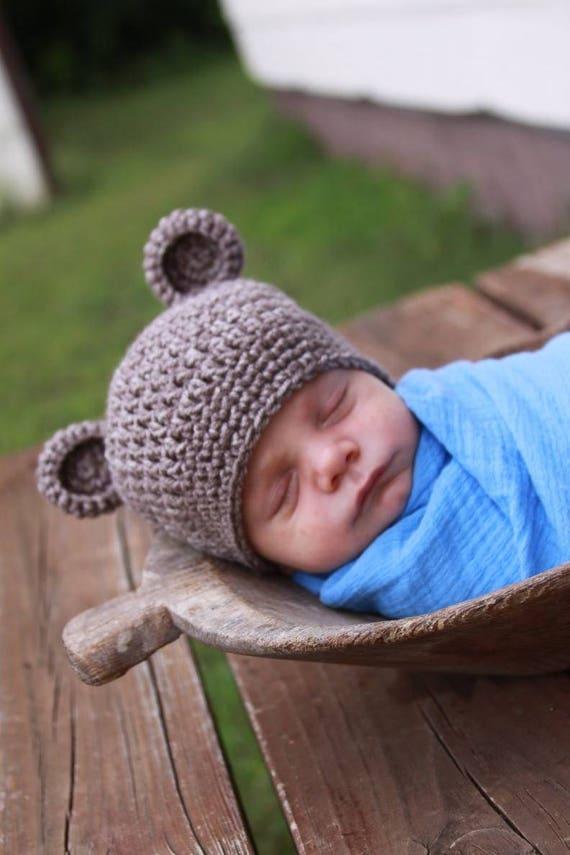 bd56d94782185 Crochet Baby Bear Hat Newborn Bear Hat Photo Prop Baby Gifts
