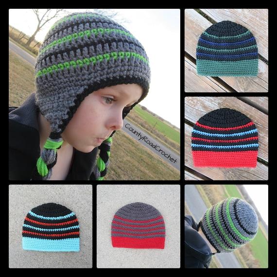 b7d52fbf97e Boy Winter Hat Beanie Crochet Earflap Hat Toboggan Hat With