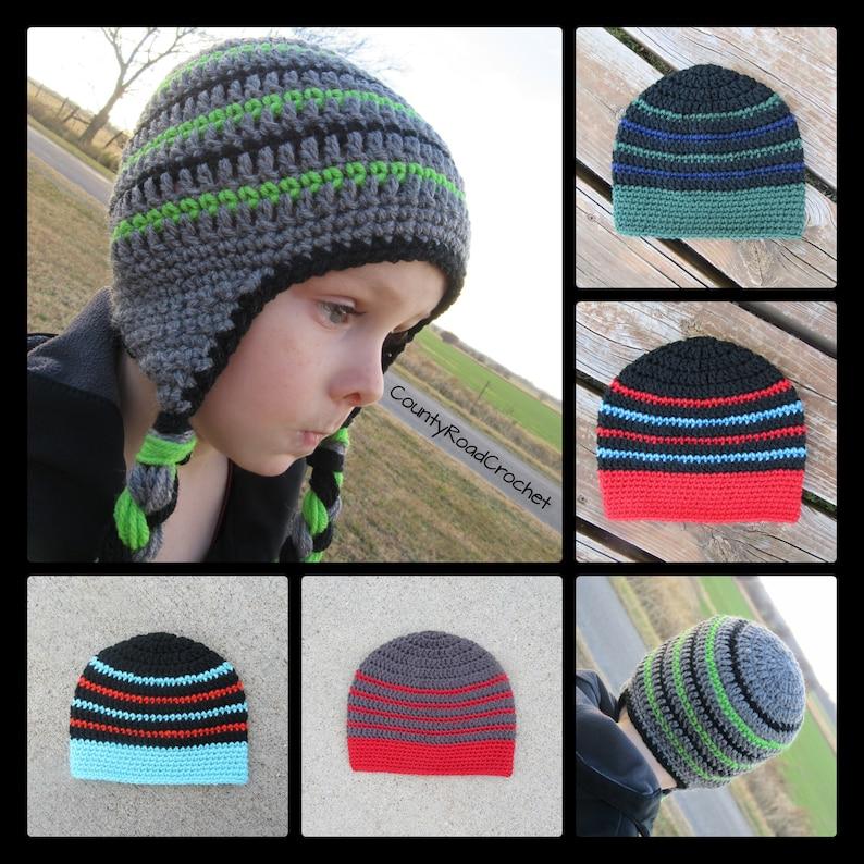 49c0075ca68 Boy Winter Hat Beanie Crochet Earflap Hat Toboggan Hat With