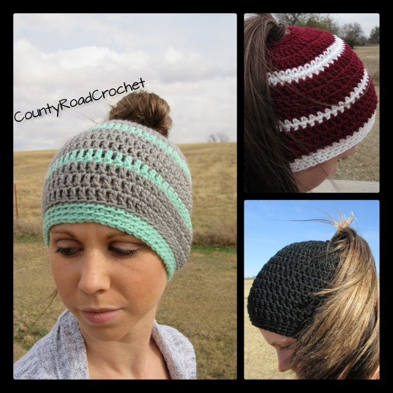 f0af41f29cc Messy Bun Beanie Ponytail Beanie Top Knot Beanie Crochet
