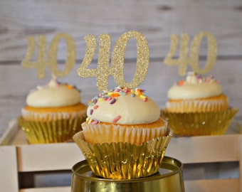 40th Birthday Cupcake Toppers 40 Party Decorations Decor Forty Ideas