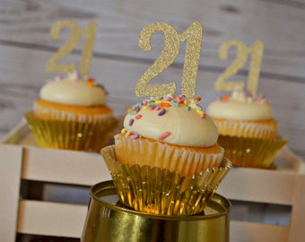 21st Birthday Cupcake Toppers 21 Party Decorations Decor Twenty One Ideas