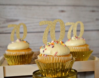 70th Birthday Cupcake Toppers 70 Party Decorations Decor Ideas