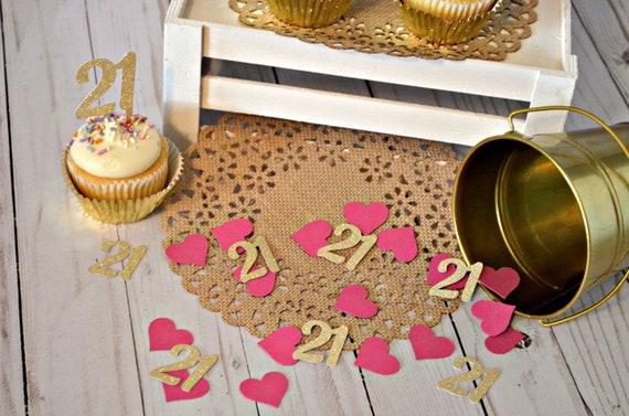 21st Birthday Confetti Glitter Gold 21